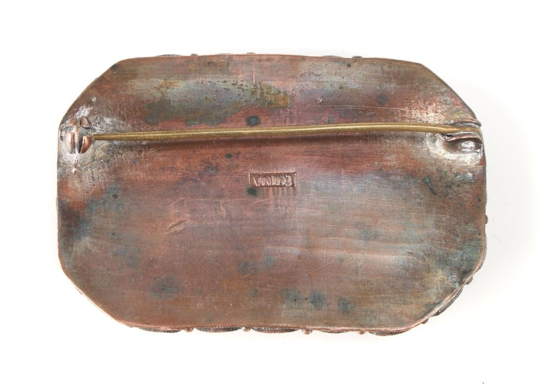 CARVED CINNABAR PIN - 3