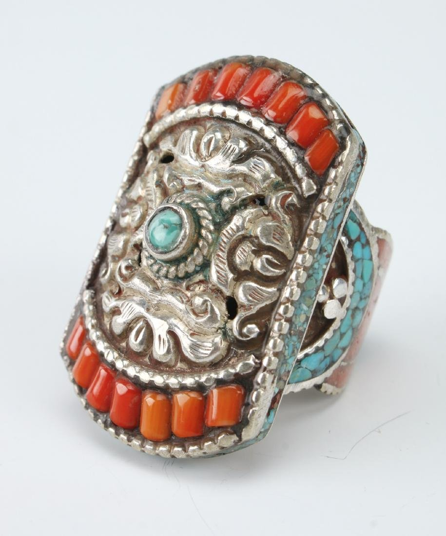 LARGE SILVER TIBETAN RING W/ CORAL TURQUOISE