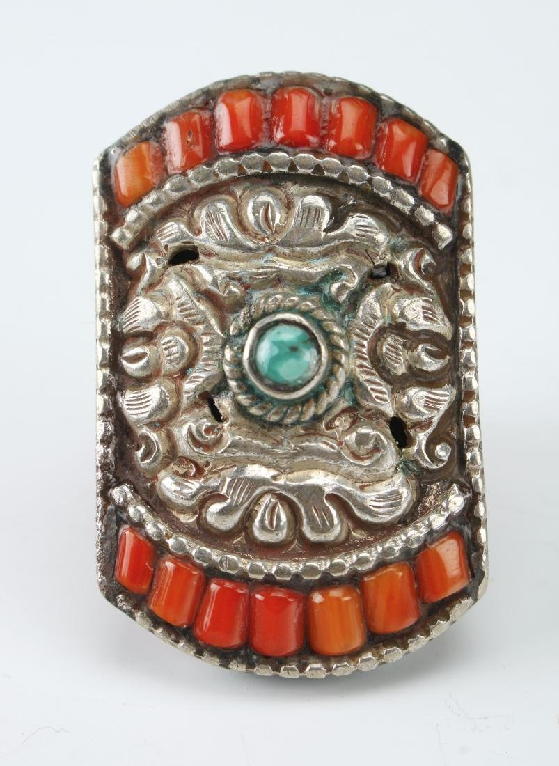 LARGE SILVER TIBETAN RING W/ CORAL TURQUOISE - 2