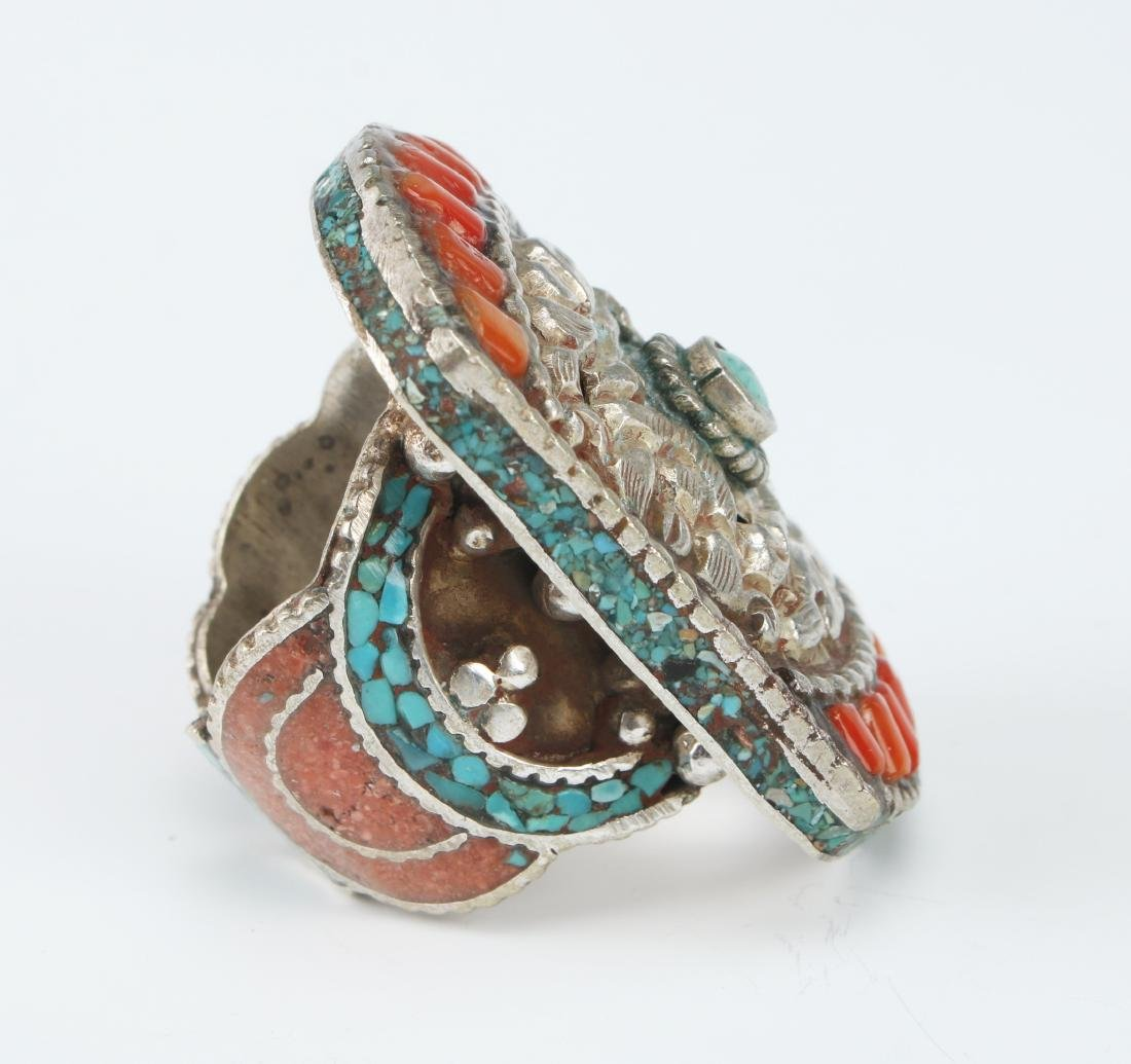 LARGE SILVER TIBETAN RING W/ CORAL TURQUOISE - 3