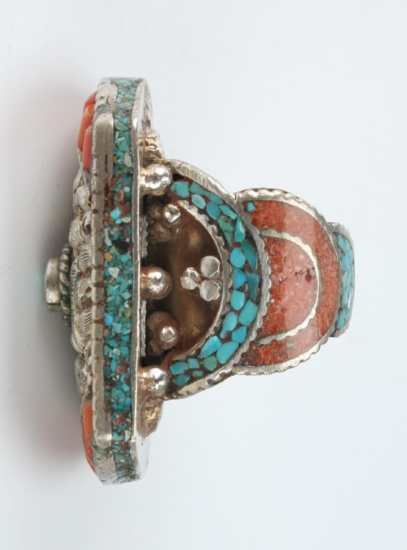 LARGE SILVER TIBETAN RING W/ CORAL TURQUOISE - 4