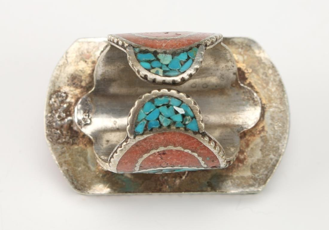 LARGE SILVER TIBETAN RING W/ CORAL TURQUOISE - 5