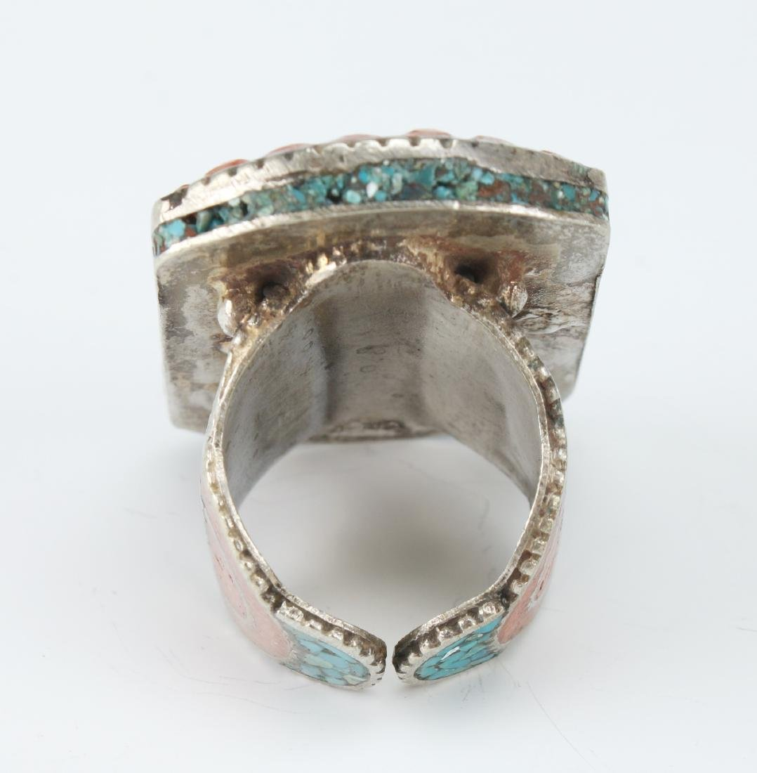 LARGE SILVER TIBETAN RING W/ CORAL TURQUOISE - 6