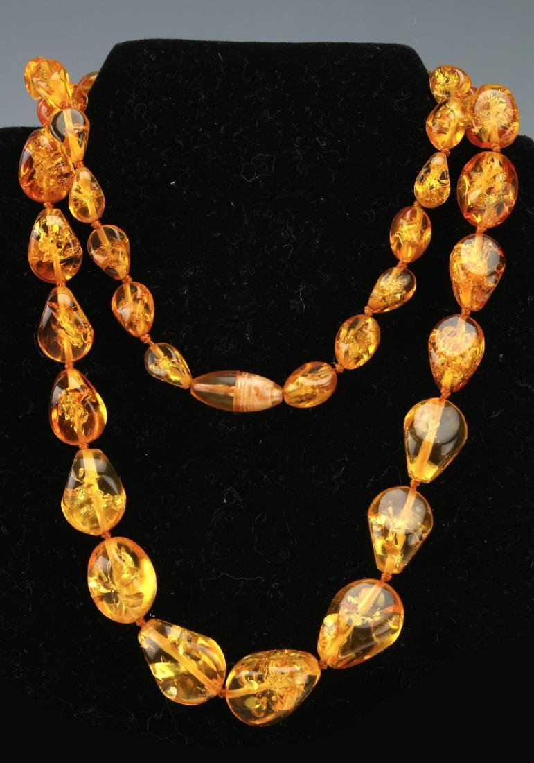 LONG AMBER NUGGET NECKLACE