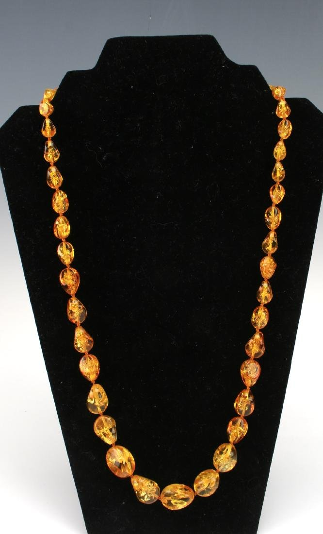 LONG AMBER NUGGET NECKLACE - 3