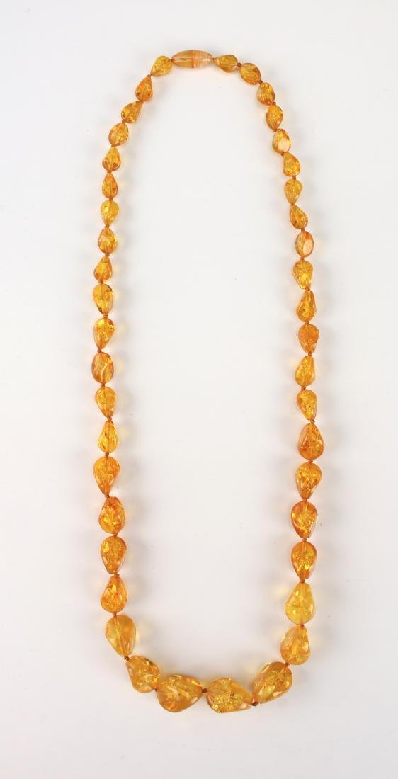 LONG AMBER NUGGET NECKLACE - 5