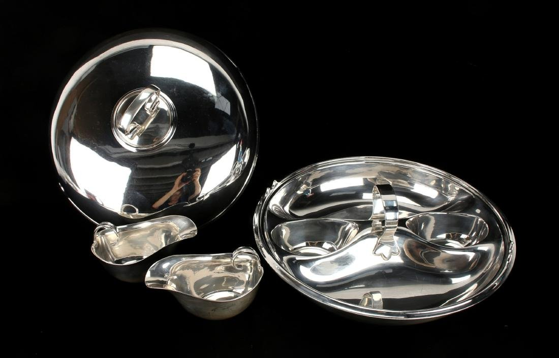 UNUSUAL STERLING AND PLATE LIDDED 4 PIECE SERVER