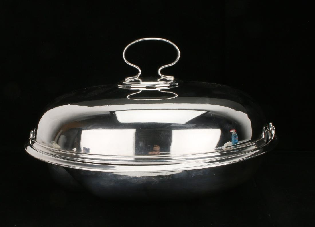 UNUSUAL STERLING AND PLATE LIDDED 4 PIECE SERVER - 2