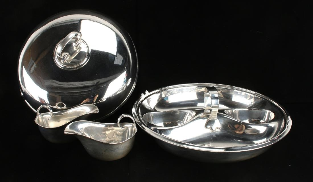 UNUSUAL STERLING AND PLATE LIDDED 4 PIECE SERVER - 3