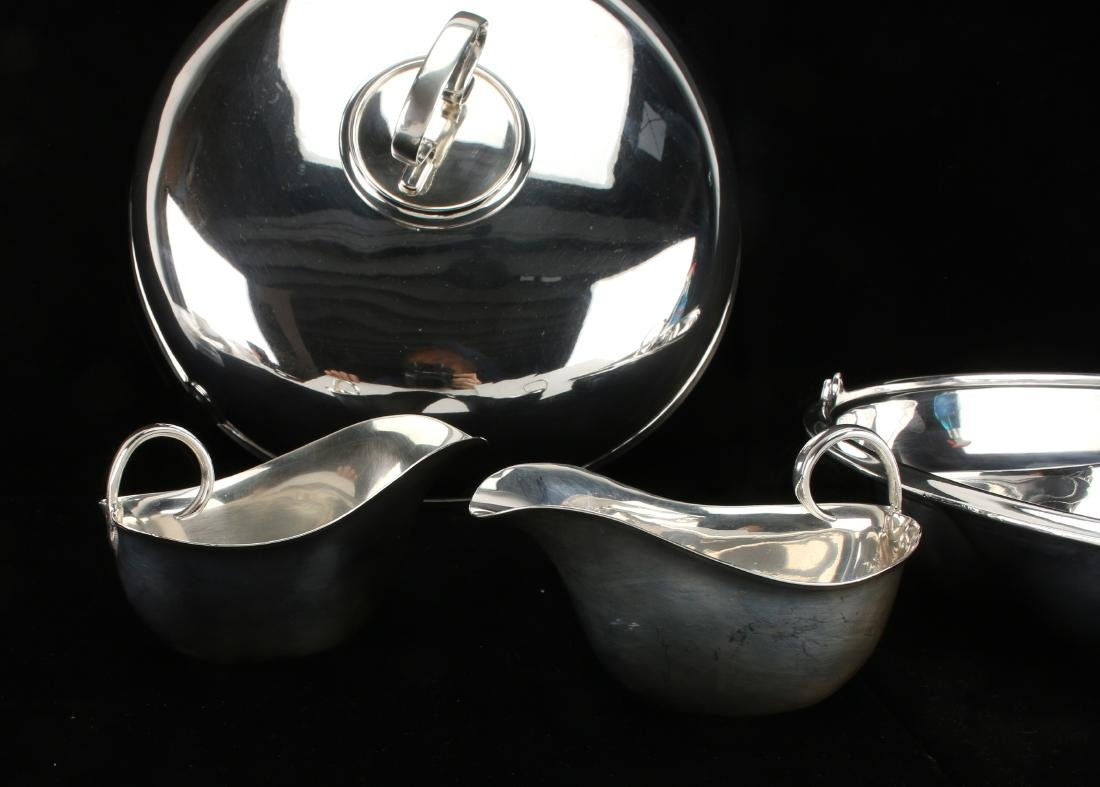 UNUSUAL STERLING AND PLATE LIDDED 4 PIECE SERVER - 4