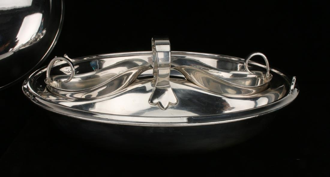 UNUSUAL STERLING AND PLATE LIDDED 4 PIECE SERVER - 6