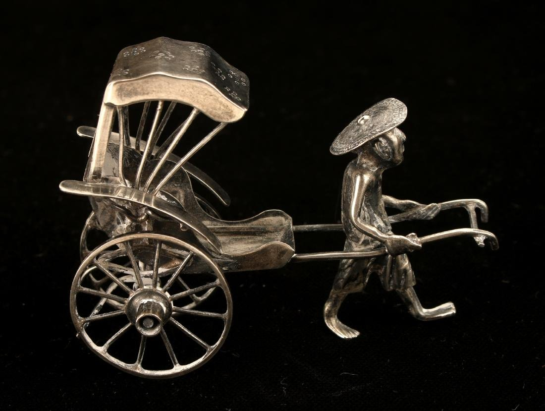 CHINESE EXPORT SILVER RICKSHAW BY WANG HING