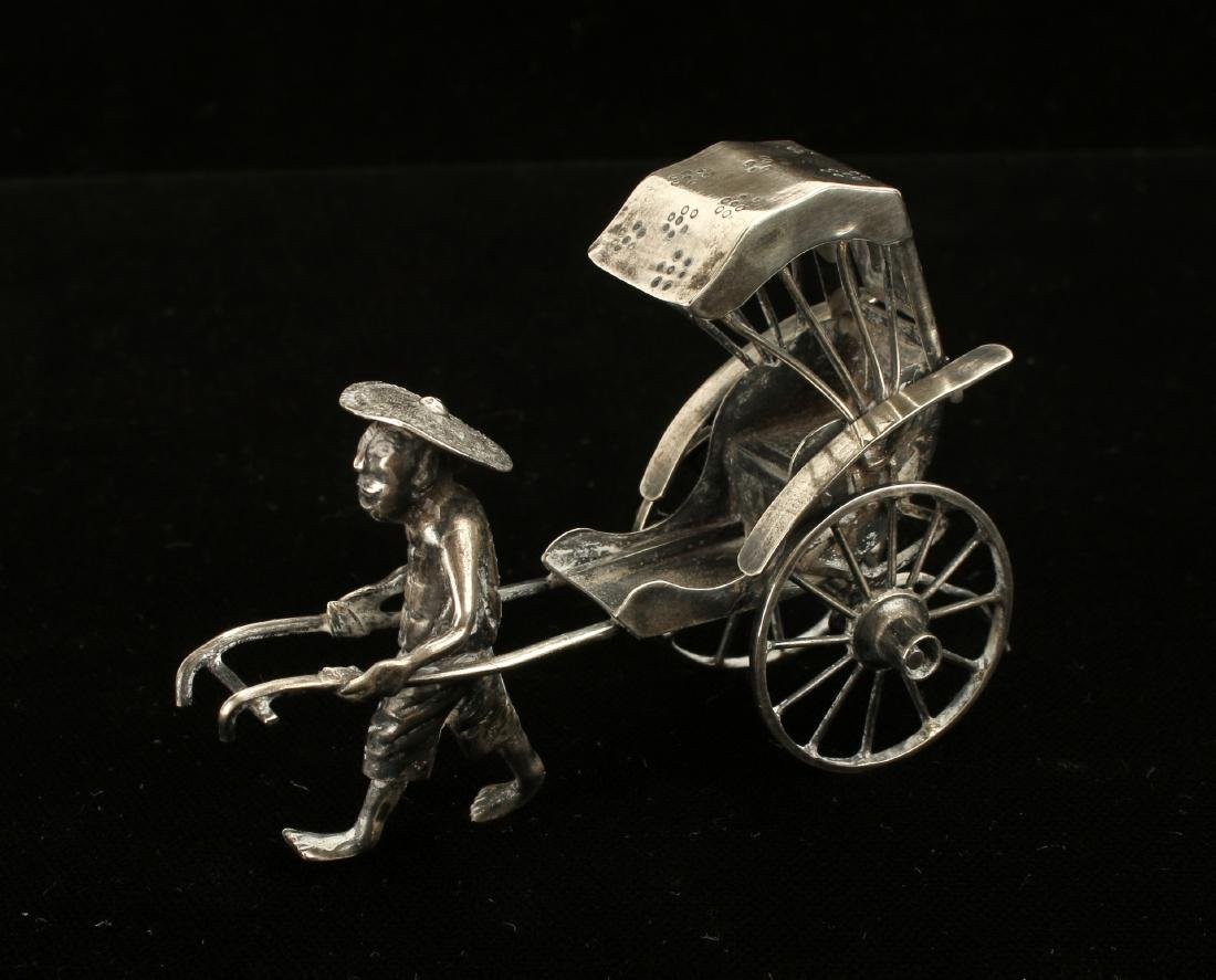 CHINESE EXPORT SILVER RICKSHAW BY WANG HING - 3