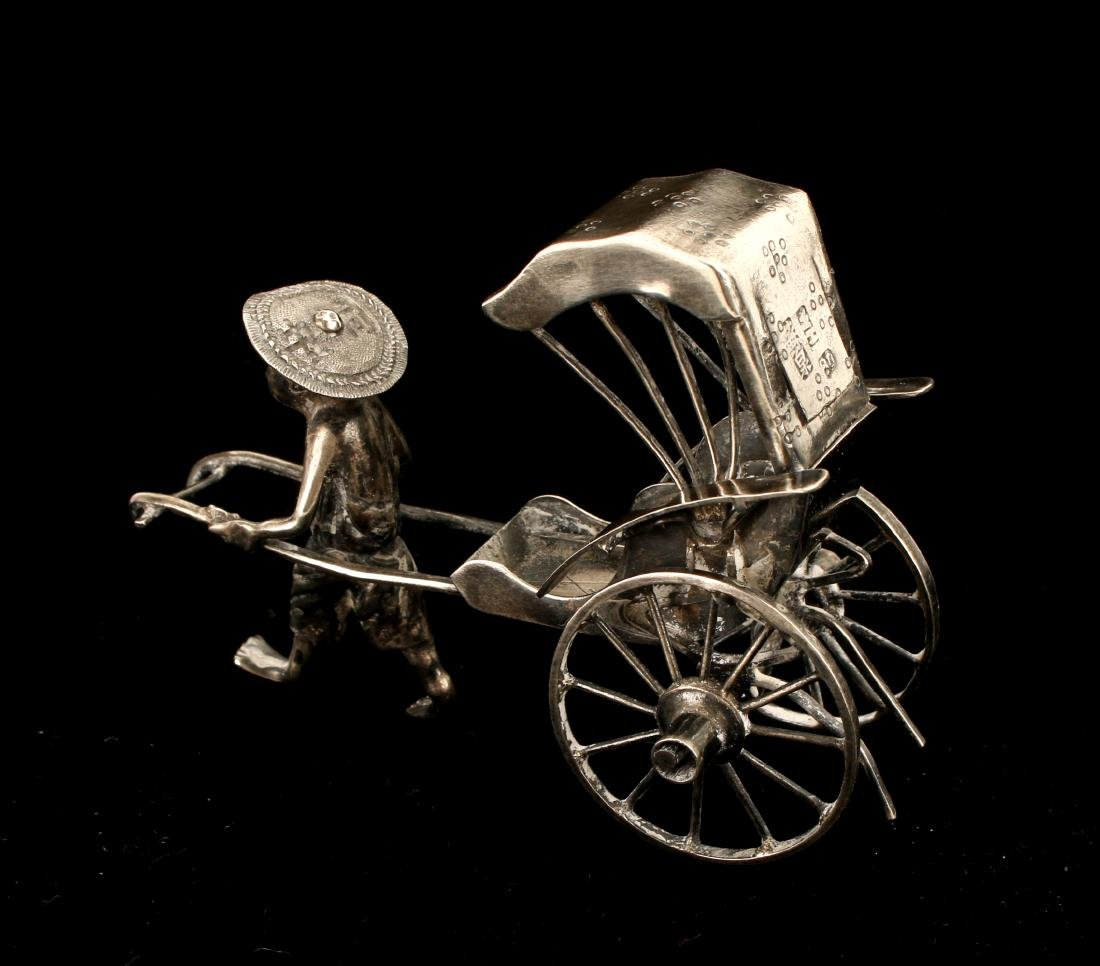 CHINESE EXPORT SILVER RICKSHAW BY WANG HING - 4