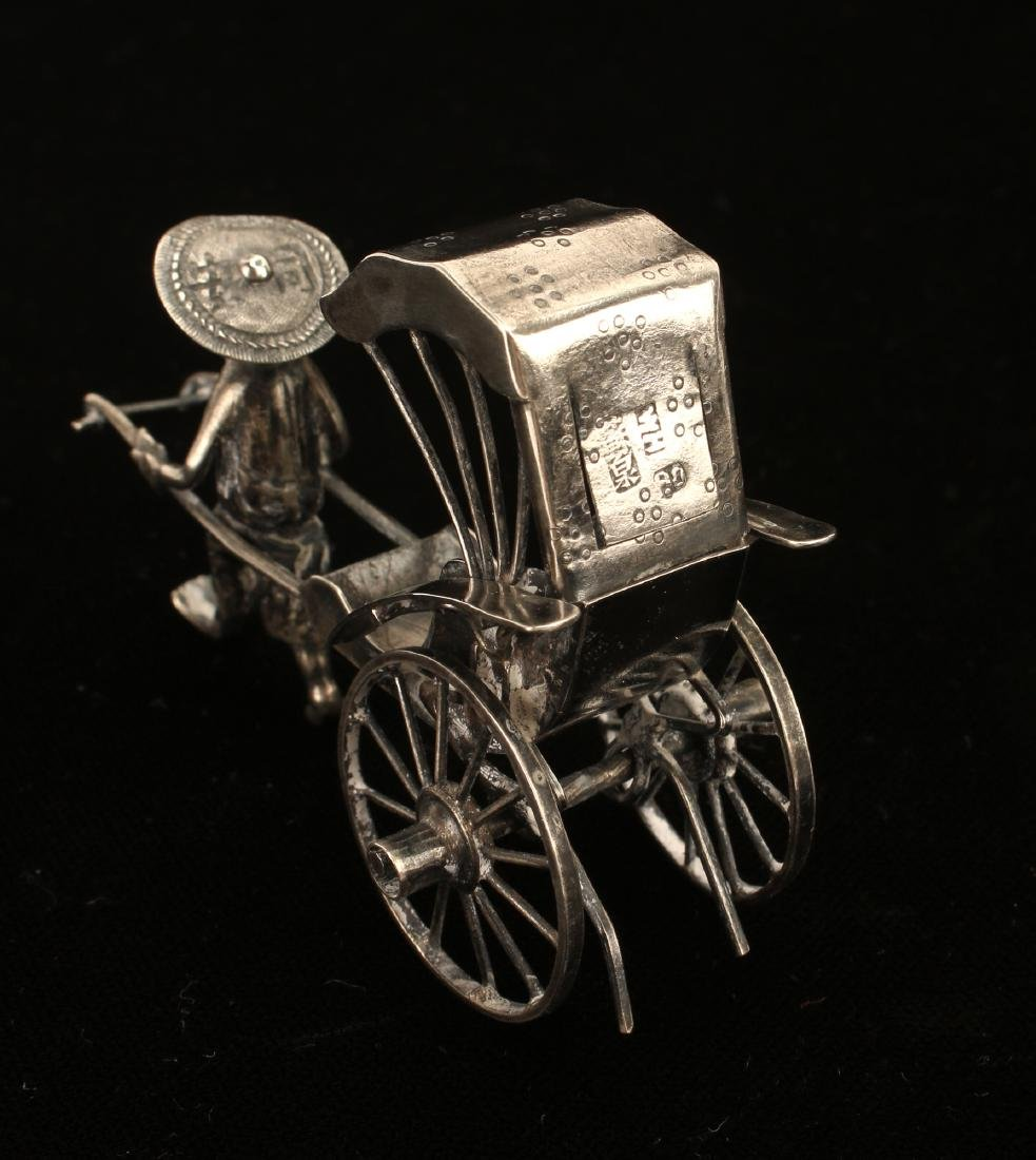 CHINESE EXPORT SILVER RICKSHAW BY WANG HING - 6