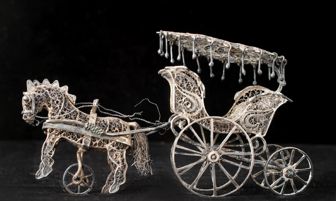 CHINESE EXPORT SILVER FILIGREE HORSE & CARRIAGE