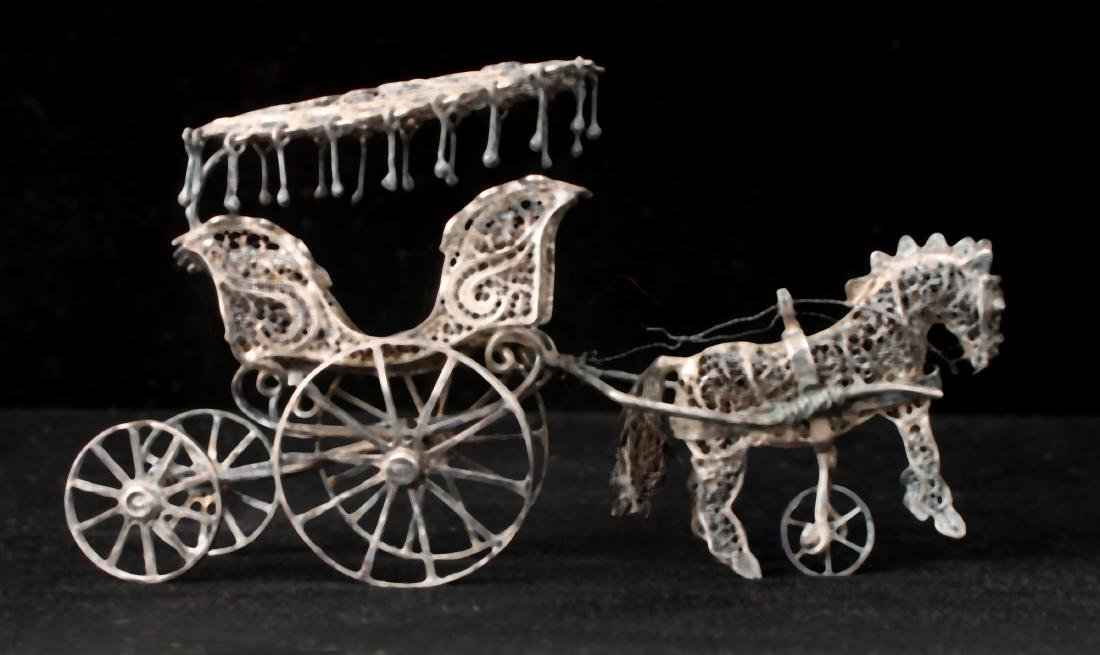 CHINESE EXPORT SILVER FILIGREE HORSE & CARRIAGE - 2