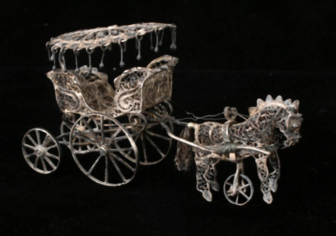 CHINESE EXPORT SILVER FILIGREE HORSE & CARRIAGE - 3