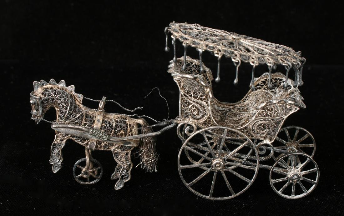 CHINESE EXPORT SILVER FILIGREE HORSE & CARRIAGE - 4