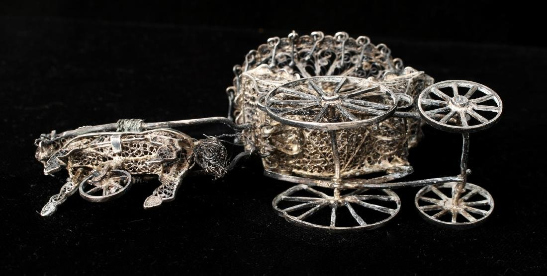 CHINESE EXPORT SILVER FILIGREE HORSE & CARRIAGE - 5