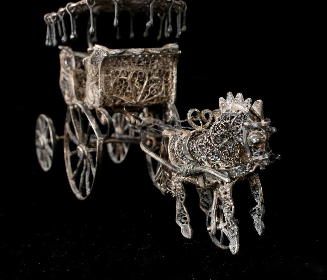 CHINESE EXPORT SILVER FILIGREE HORSE & CARRIAGE - 7