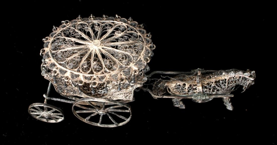 CHINESE EXPORT SILVER FILIGREE HORSE & CARRIAGE - 8