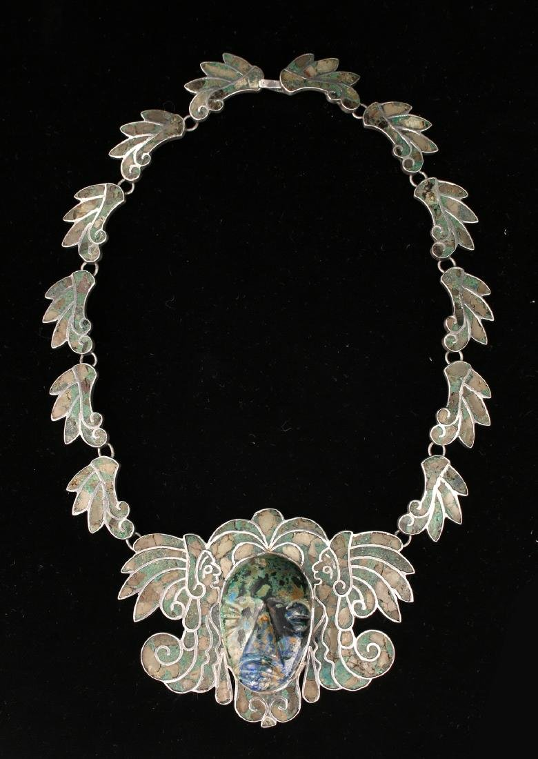 RARE TAXCO STERLING INLAID NECKLACE WITH MASK