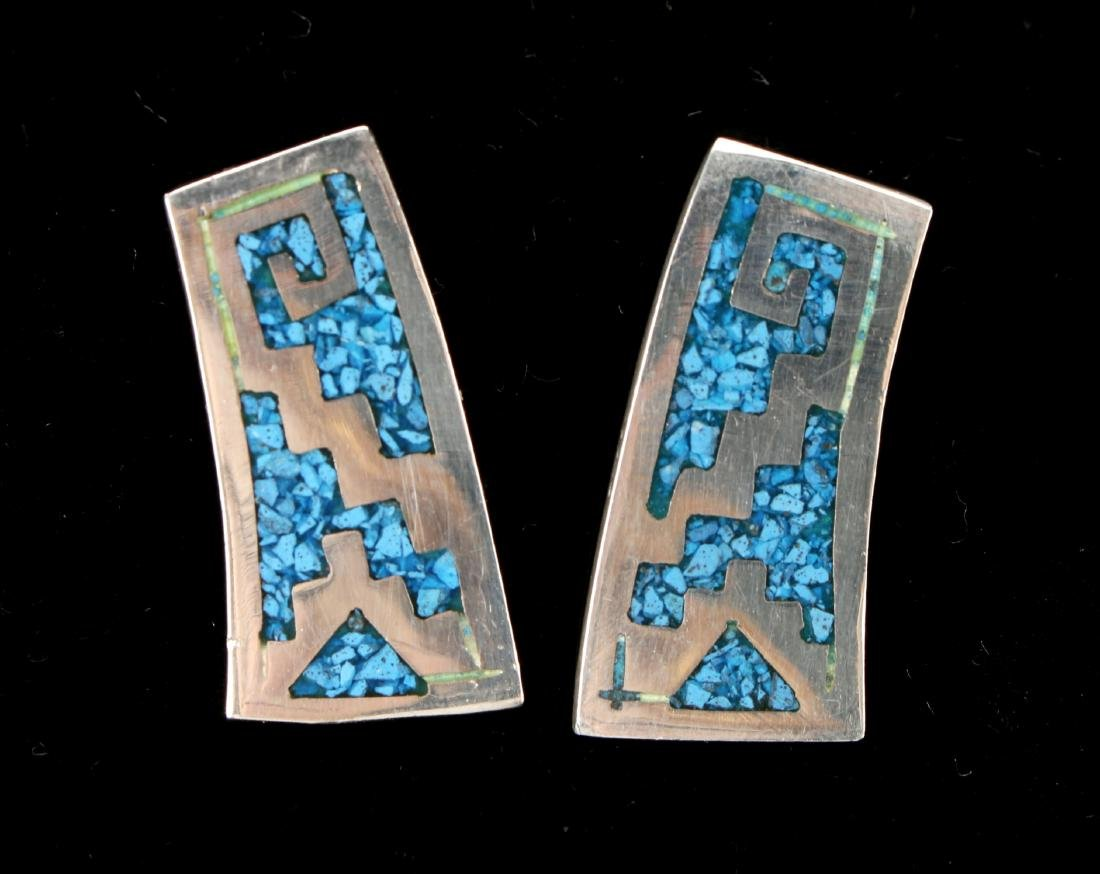 SOUTHWEST SILVER & TURQUOISE EARRINGS - 2