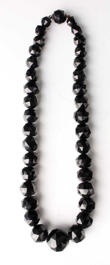 VINTAGE BLACK GLASS NECKLACES AND PENDANT - 5