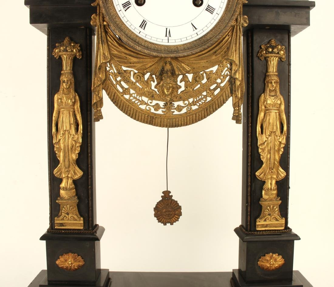 GREEK REVIVAL BLACK MARBLE FRENCH CLOCK - 2