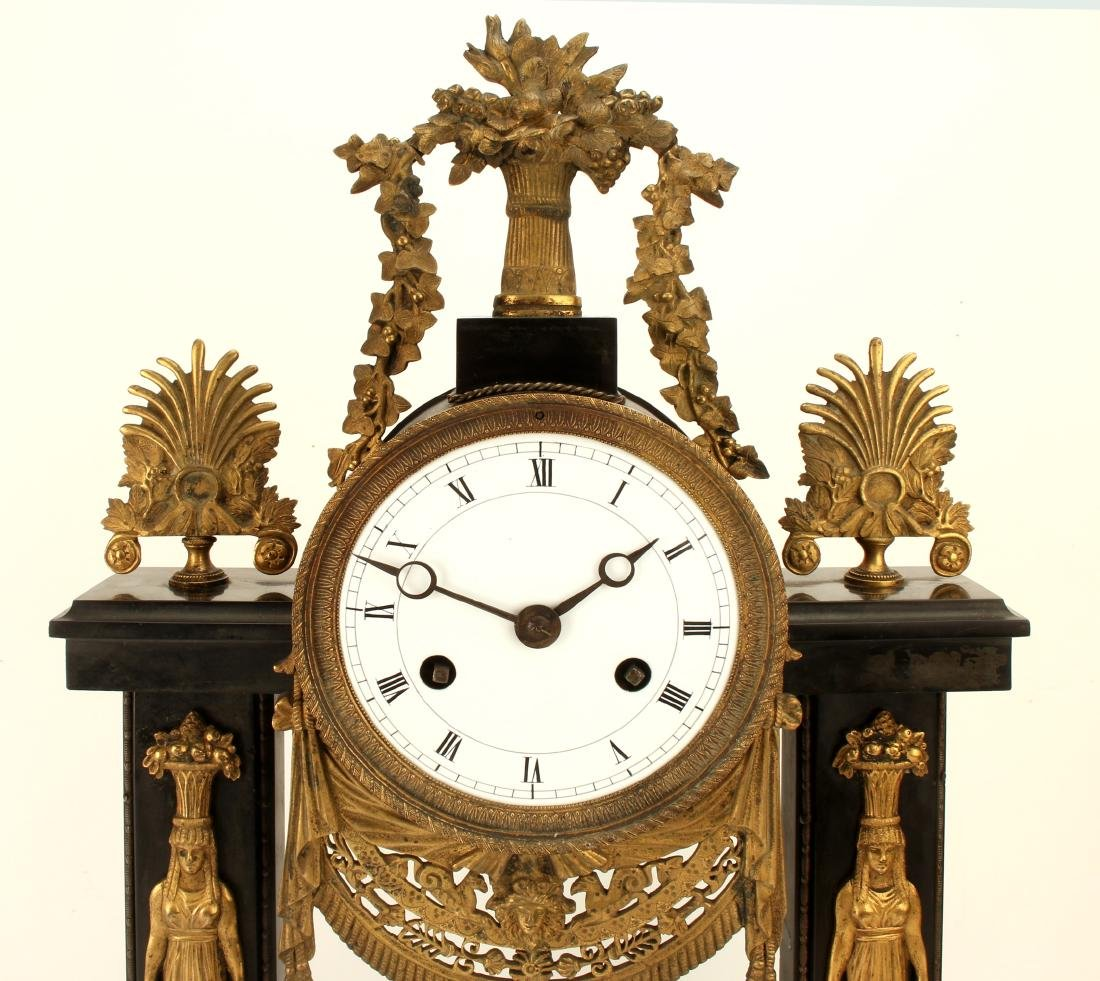 GREEK REVIVAL BLACK MARBLE FRENCH CLOCK - 3