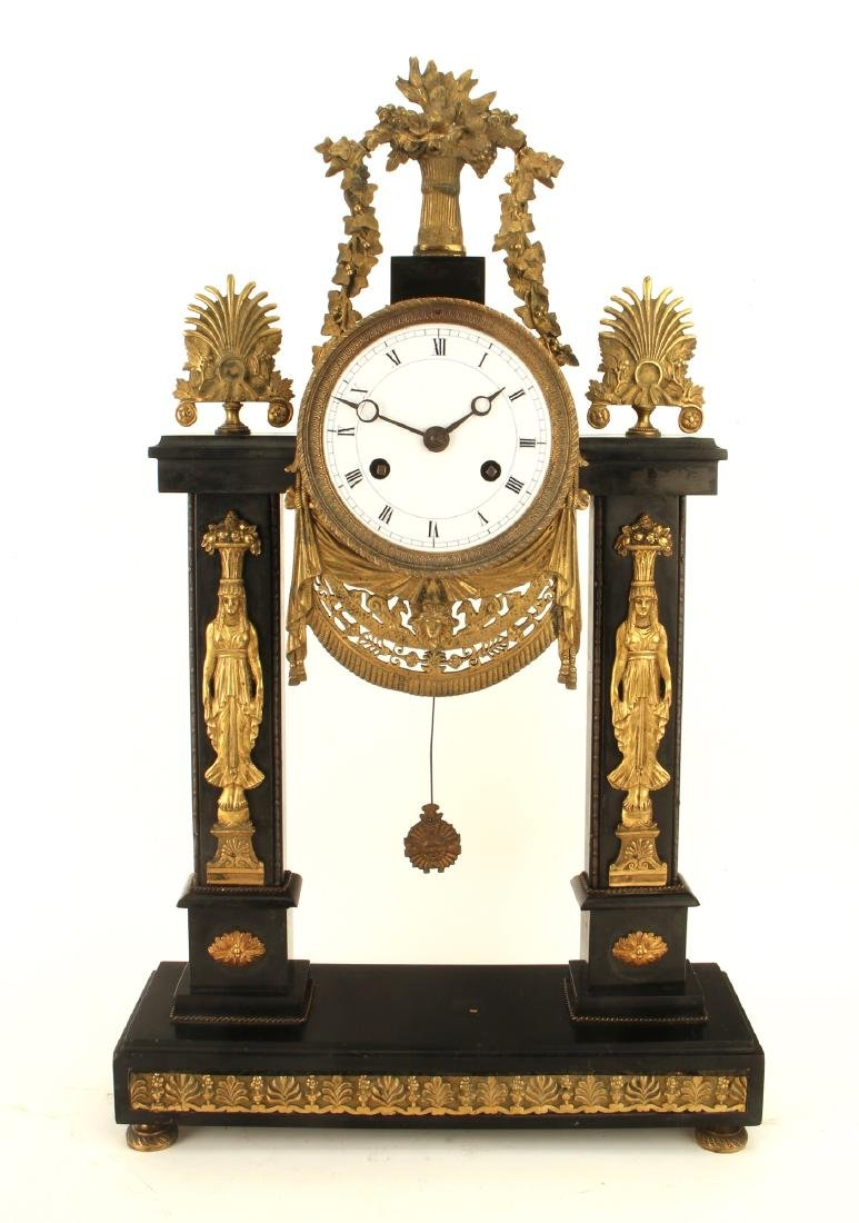 GREEK REVIVAL BLACK MARBLE FRENCH CLOCK - 9