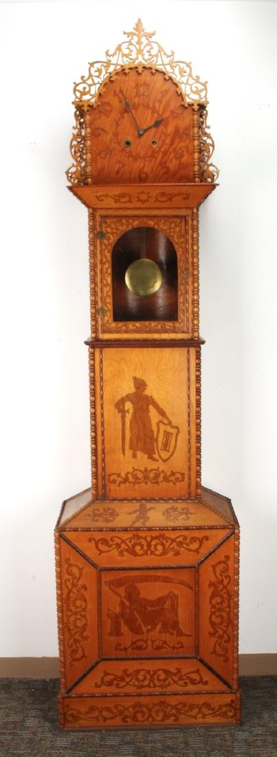 TRAMP ART FRETWORK TALL CASE CLOCK