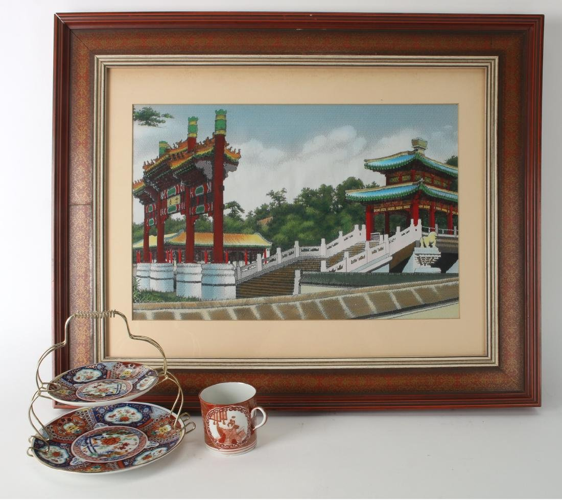 CHINESE SILK PRINT WITH IMARI DISHES AND CUP
