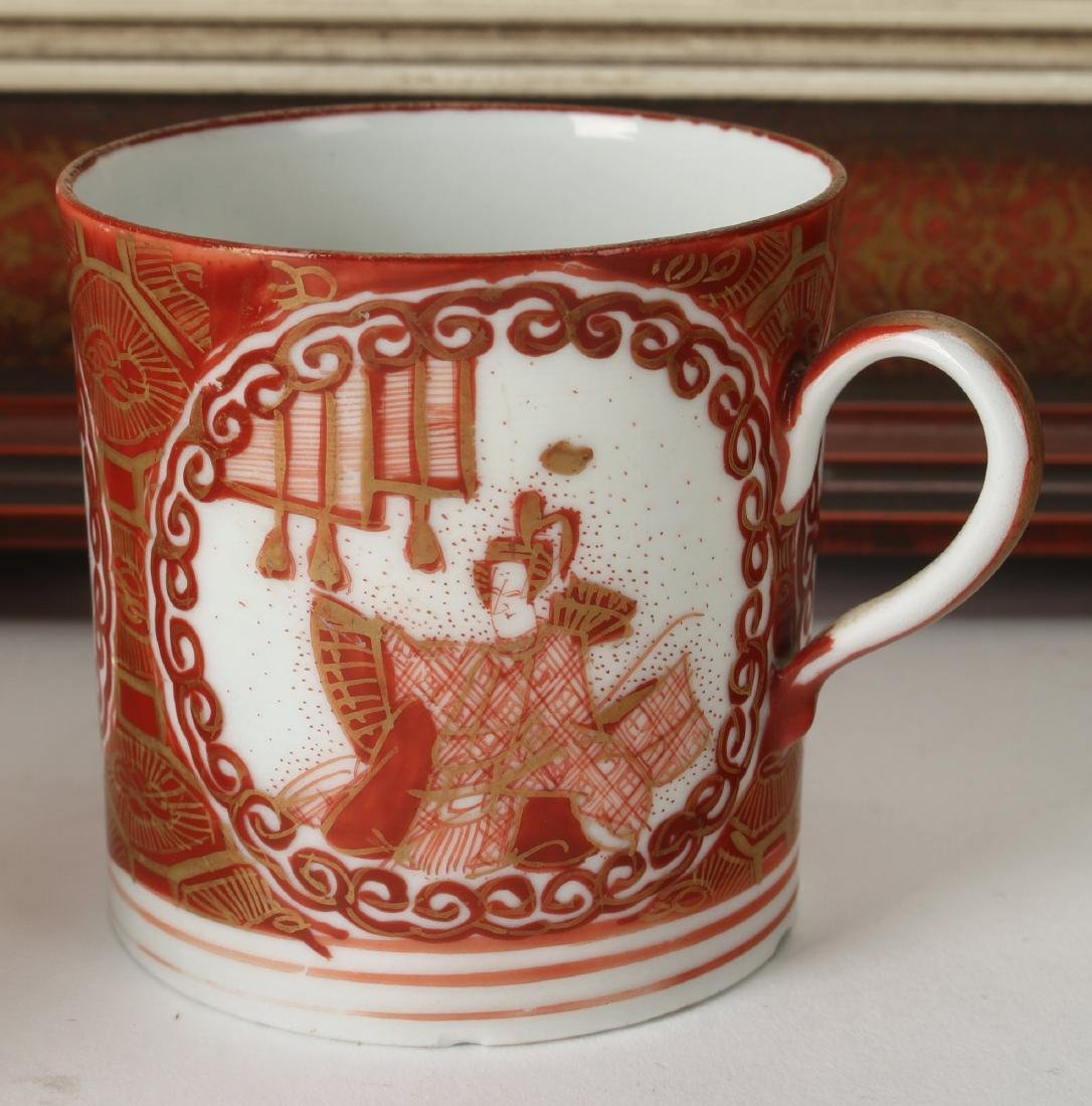 CHINESE SILK PRINT WITH IMARI DISHES AND CUP - 4