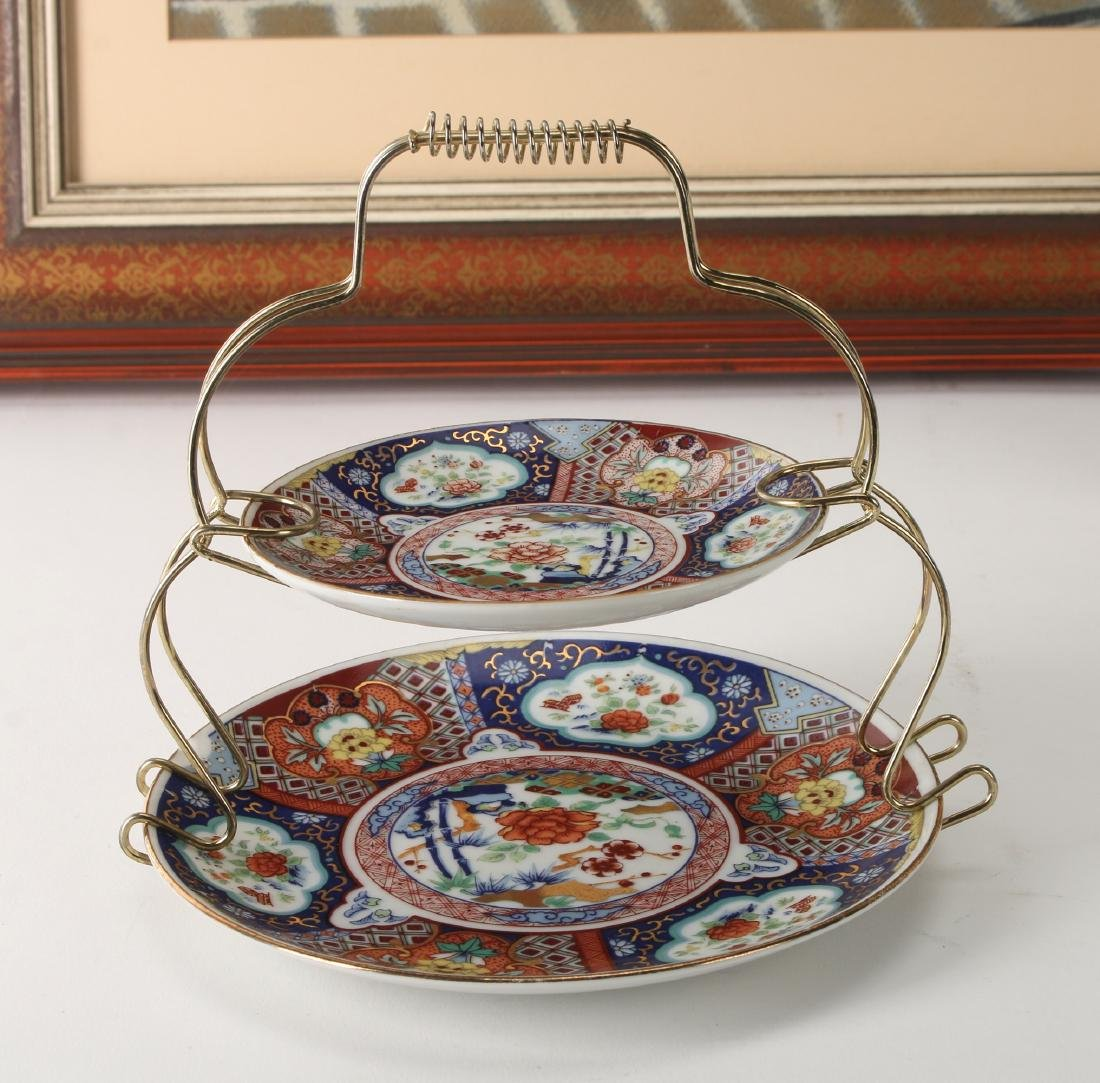 CHINESE SILK PRINT WITH IMARI DISHES AND CUP - 5