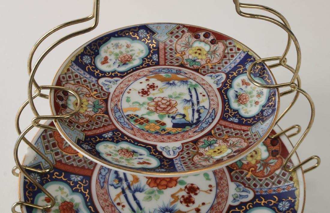 CHINESE SILK PRINT WITH IMARI DISHES AND CUP - 6