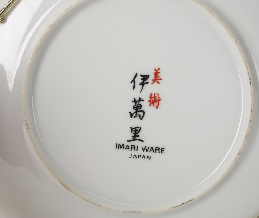 CHINESE SILK PRINT WITH IMARI DISHES AND CUP - 8