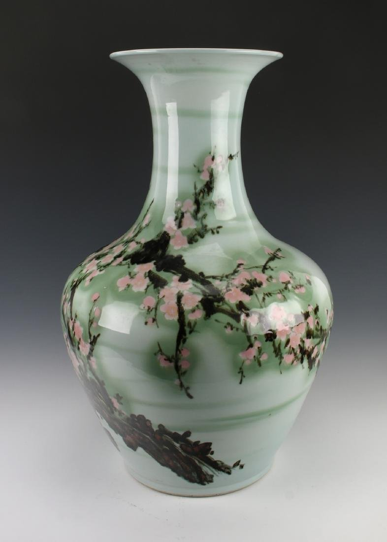 LARGE GREEN VASE WITH CHERRY BLOSSOMS