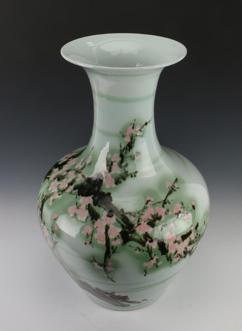 LARGE GREEN VASE WITH CHERRY BLOSSOMS - 2