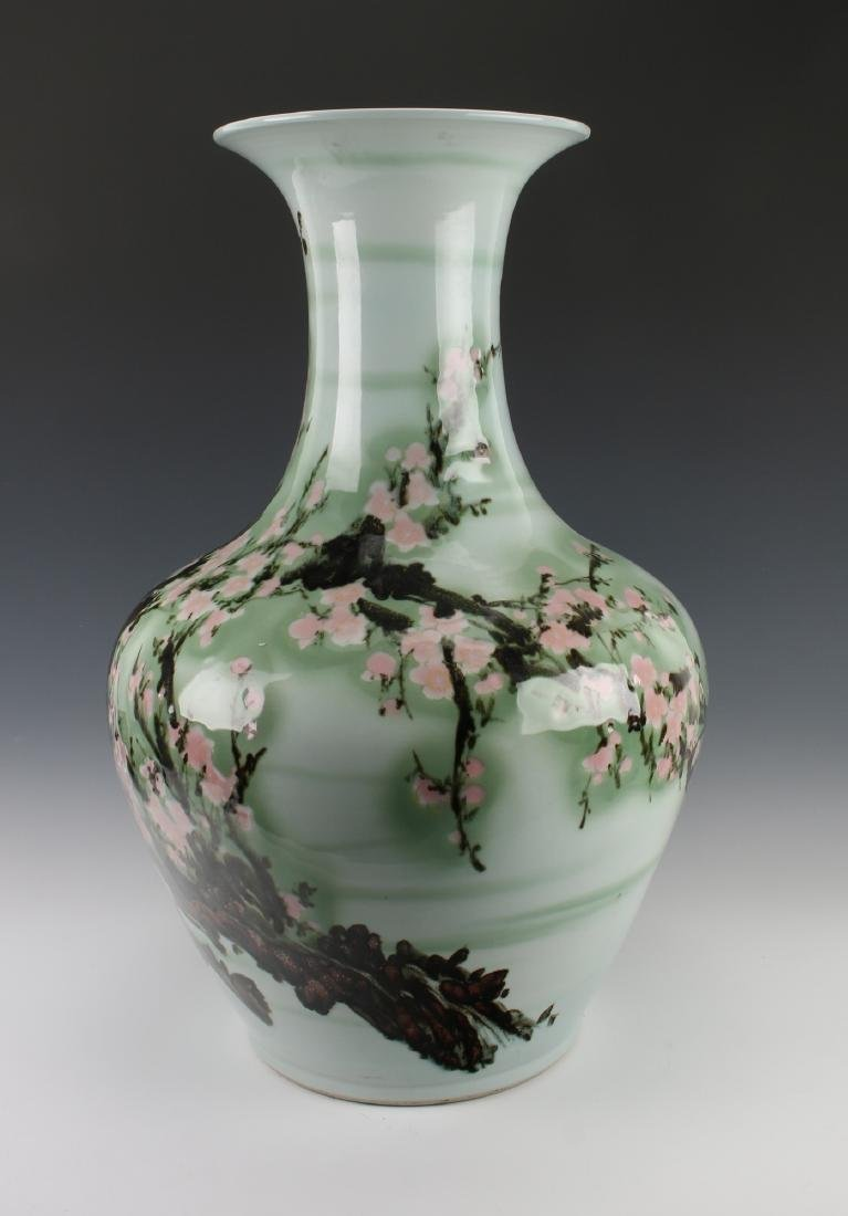 LARGE GREEN VASE WITH CHERRY BLOSSOMS - 3