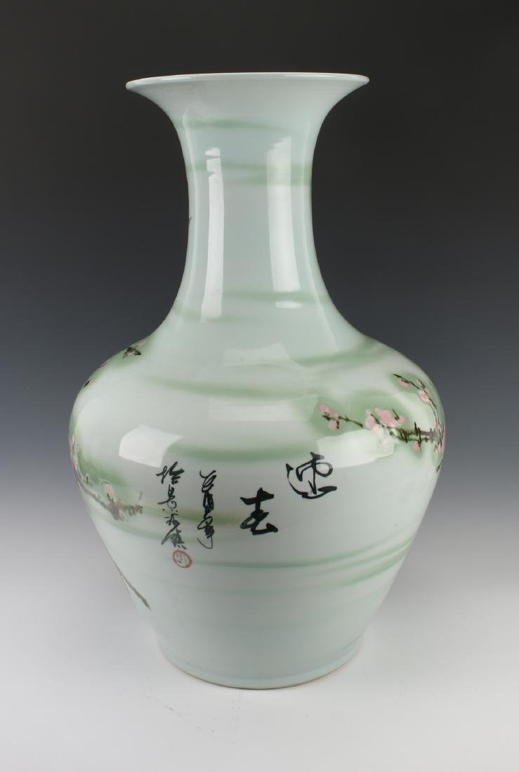 LARGE GREEN VASE WITH CHERRY BLOSSOMS - 4