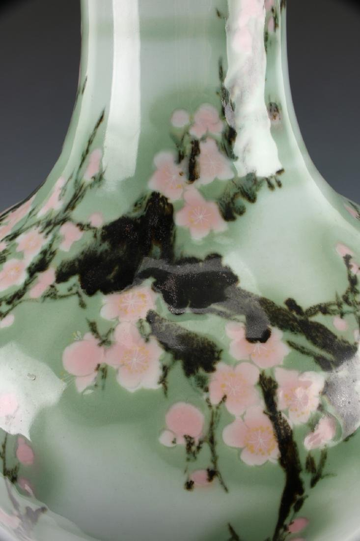 LARGE GREEN VASE WITH CHERRY BLOSSOMS - 7
