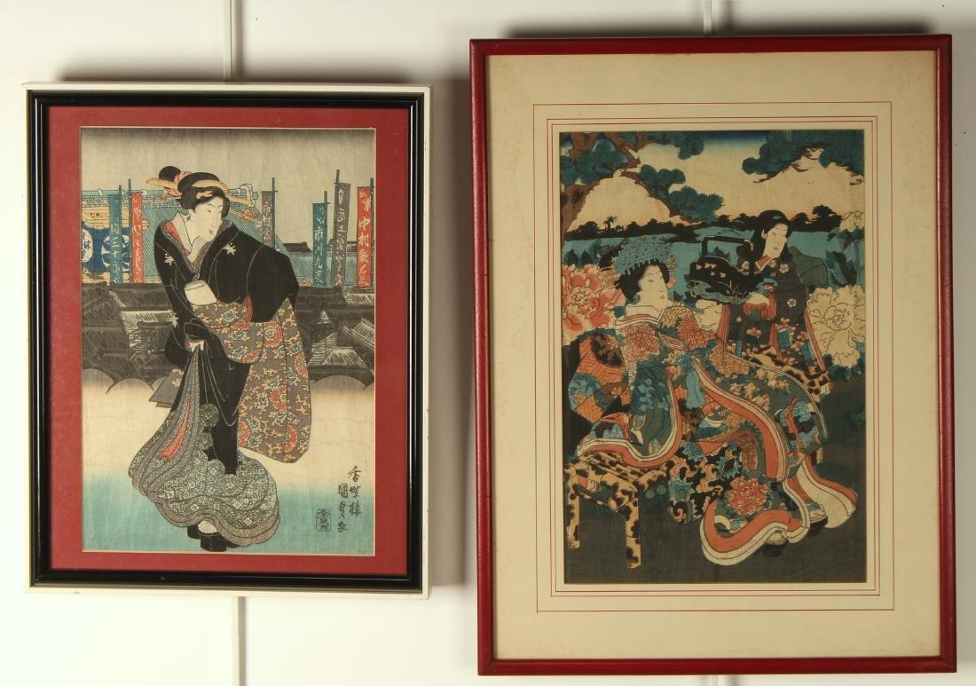 TWO FRAMED JAPANESE PRINTS