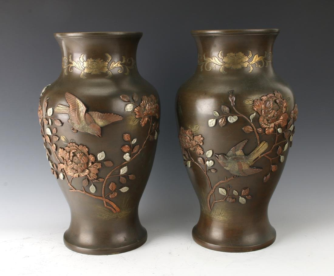 PAIR OF JAPANESE BRONZE VASES WITH FLORAL PATTERN