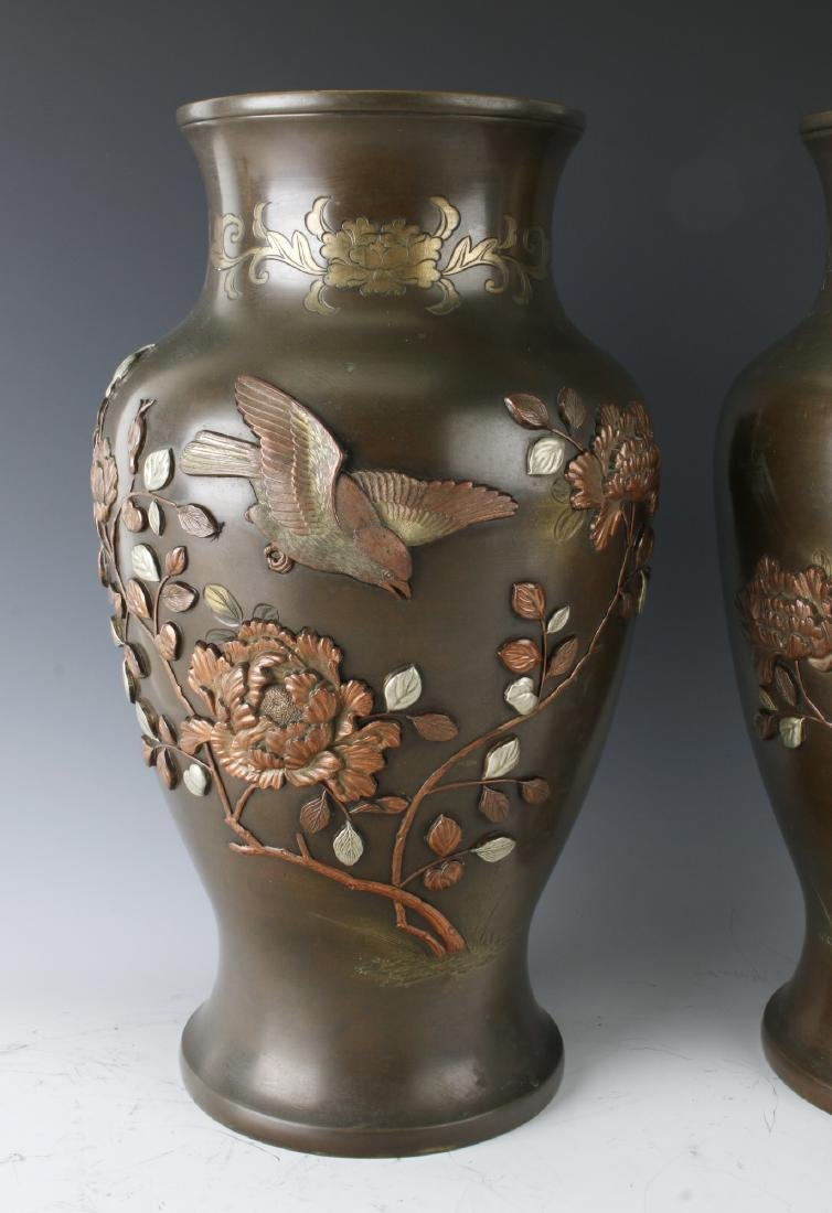 PAIR OF JAPANESE BRONZE VASES WITH FLORAL PATTERN - 2