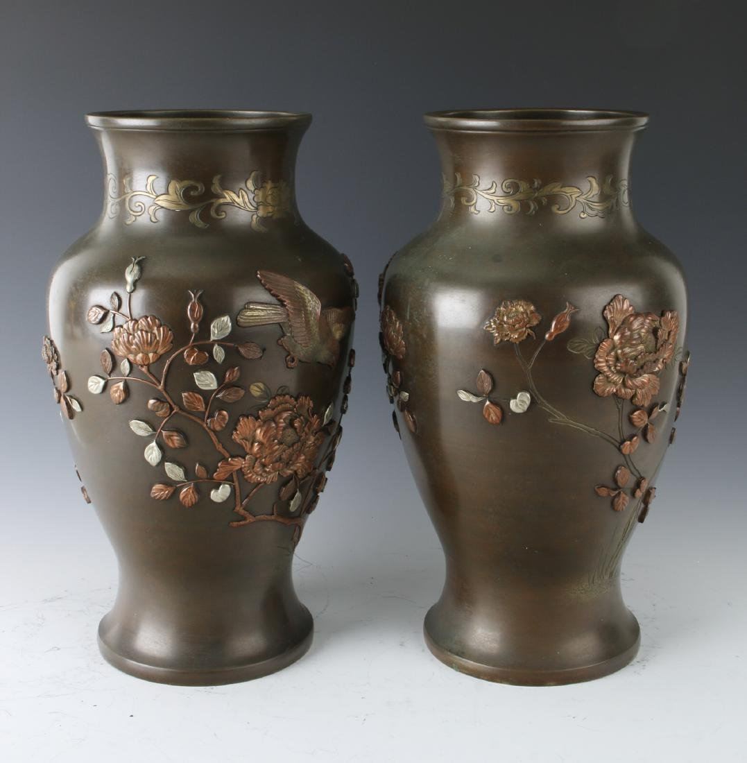 PAIR OF JAPANESE BRONZE VASES WITH FLORAL PATTERN - 6