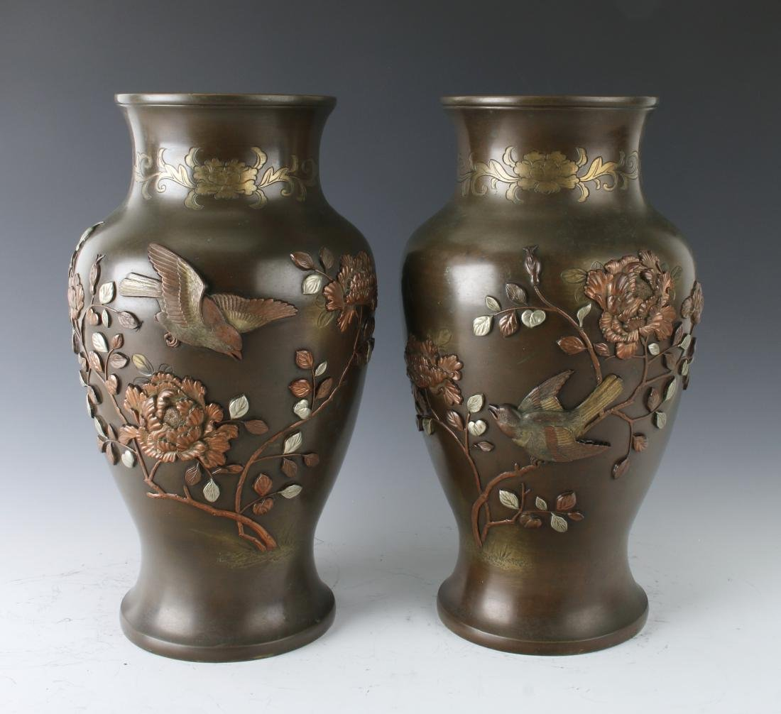 PAIR OF JAPANESE BRONZE VASES WITH FLORAL PATTERN - 7