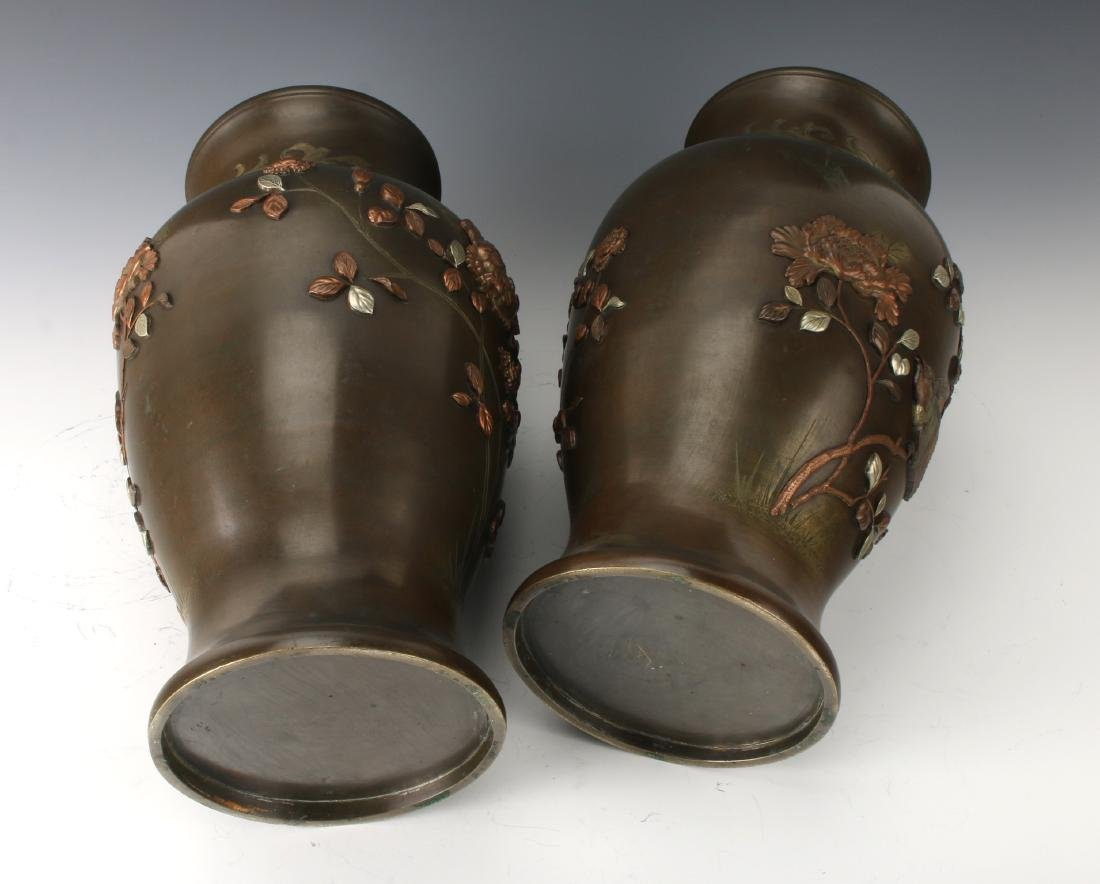 PAIR OF JAPANESE BRONZE VASES WITH FLORAL PATTERN - 8