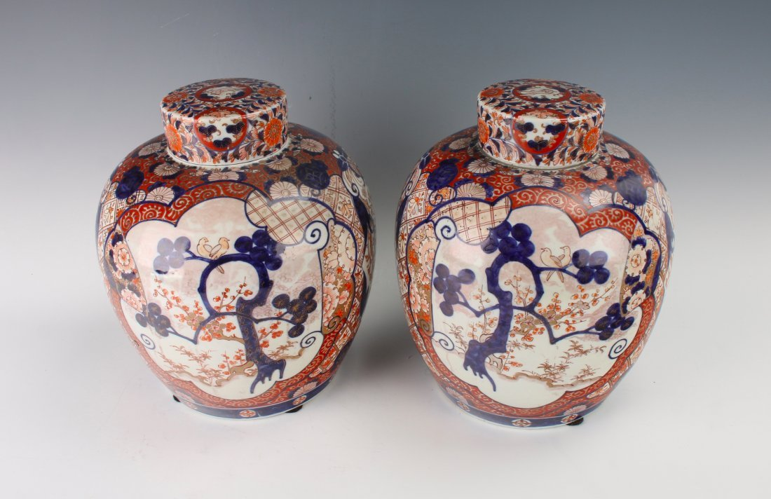 PAIR OF MATCHING GINGER JARS WITH TWO LIDS - 2